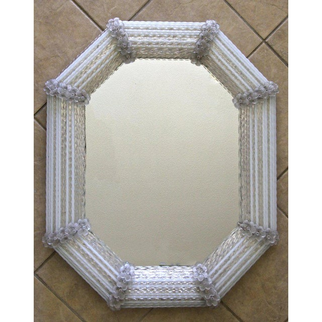 Italian Murano Venetian White Clear Twisted Rod Floral Wall Mirror For Sale - Image 3 of 13