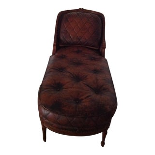 Leather with Wood Trim Chaise