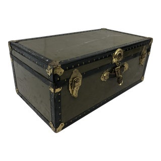 Vintage Green Military Foot Locker Trunk For Sale
