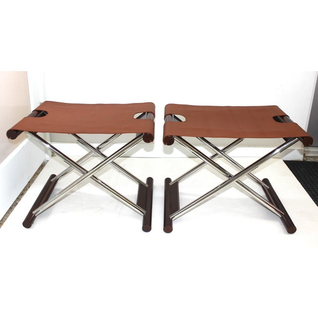 Modern Vintage Folding X-Sling Stools in Leather, Stainless Steel and Mahogany a Pair For Sale - Image 3 of 13