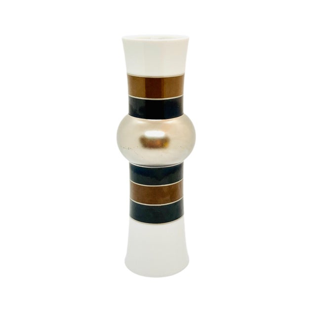 1970s Rosenthal Studio Line Vase With Silver, Brown, and Black Glaze Designed by Tapio Wirkkala For Sale - Image 9 of 10