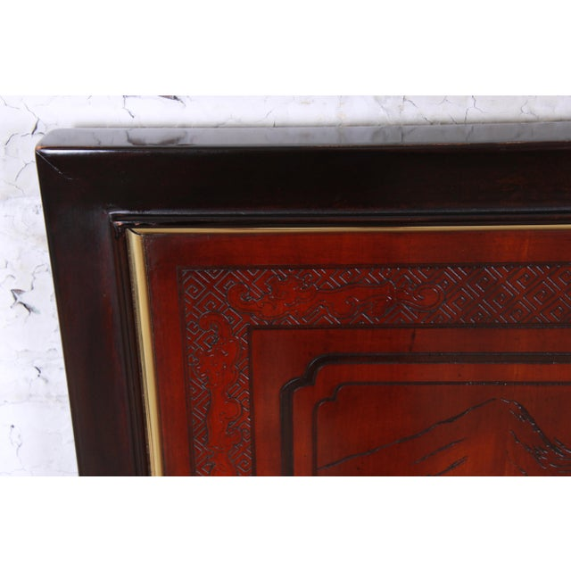 1980s Drexel Heritage Mahogany and Brass Hollywood Regency Chinoiserie Queen Size Headboard For Sale - Image 5 of 8