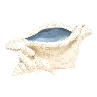 Large Ceramic Textured Conch Shell Bowl With Blue Glazed Interior