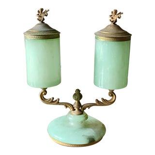 Vintage Italian Jade Green Opaline Alabaster & Brass Candelabra For Sale