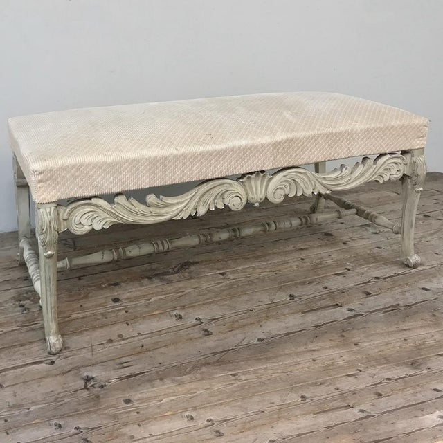 Antique French Louis XIV Painted Bench For Sale - Image 9 of 13