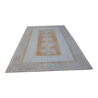 1960s Vintage Turkish Oushak Pastel Rug - 6′9″ × 9′11″ For Sale