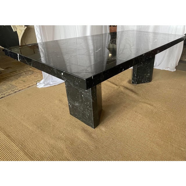 1980s 1980s Nero Marquina Black Marble Dining Table For Sale - Image 5 of 13