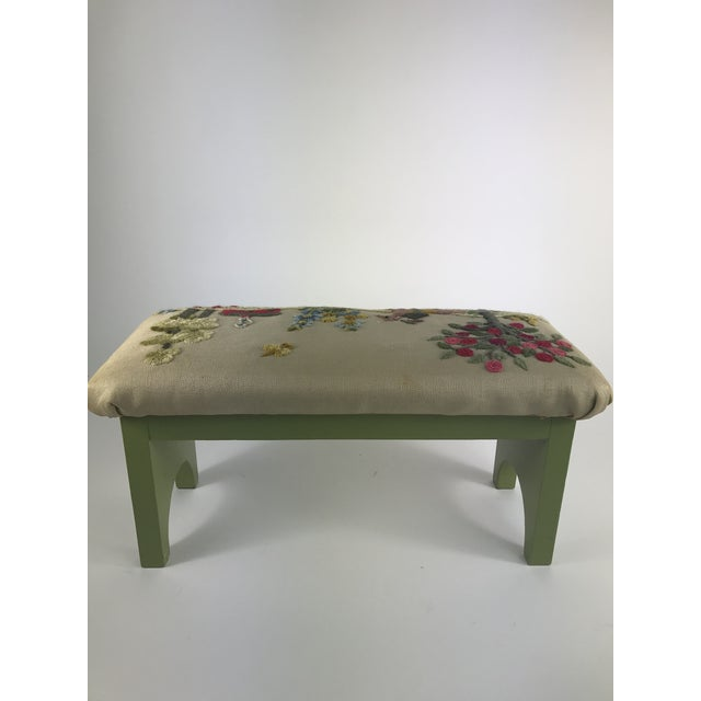 Yellow 1970s Vintage Handmade Embroidered Foot Stool For Sale - Image 8 of 13