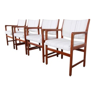 Karl Erik Ekselius for j.o. Carlsson Swedish Modern Solid Teak Arm Chairs, Set of Four For Sale