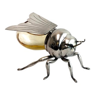 Antique Mappin & Webb Silver and Glass Bee Honeypot For Sale
