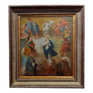17th Century Italian Old Master-Madonna Surrounded by Saints For Sale