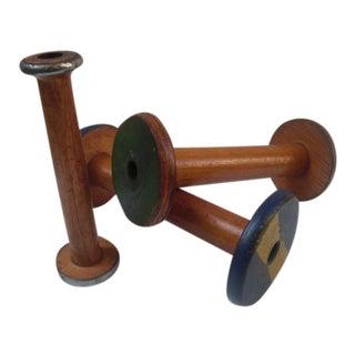 Antique Wooden Bobbin Spools - Set of 3 For Sale