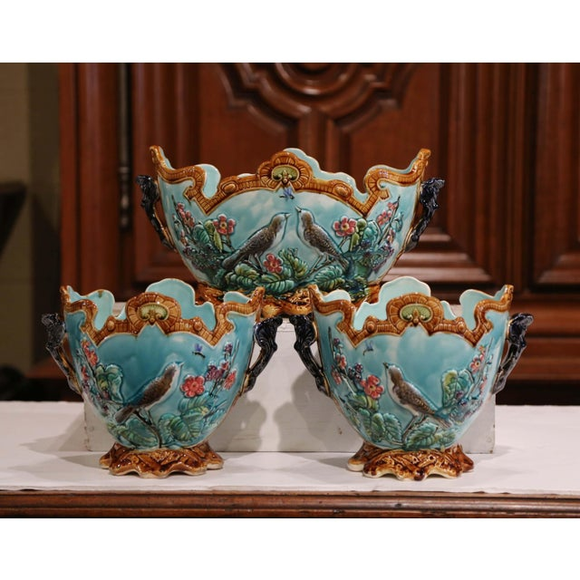 19th Century French Hand Painted Barbotine Cachepots With Bird and Flower Decor For Sale - Image 13 of 13