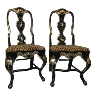 Swedish Lindome Style Chinoiserie Chairs- A Pair For Sale