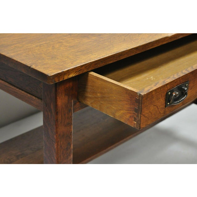 Wood 1900s Arts and Crafts L & Jg Stickley Library Table/Writing Desk For Sale - Image 7 of 12