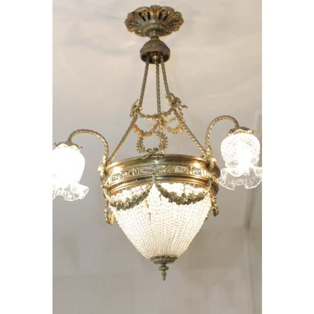 Late 19th Century French 19th Century Empire Style Half Circular Crystal & Bronze Chandelier For Sale - Image 5 of 11