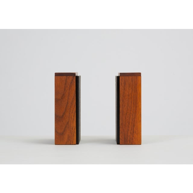 Pair of Scandinavian Modern Slate and Teak Bookends For Sale - Image 4 of 11