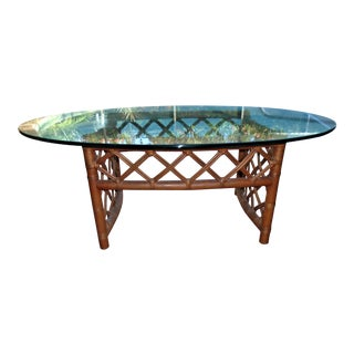 1970s Ficks Reed Rattan/Glass Top Coffee Table For Sale