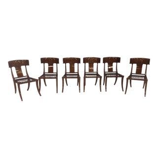 Mid-Century Klismos Style Dining Chairs - Set of 6