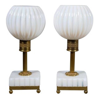 French Opaline Table Lamps, Castaing Provenance - a Pair For Sale