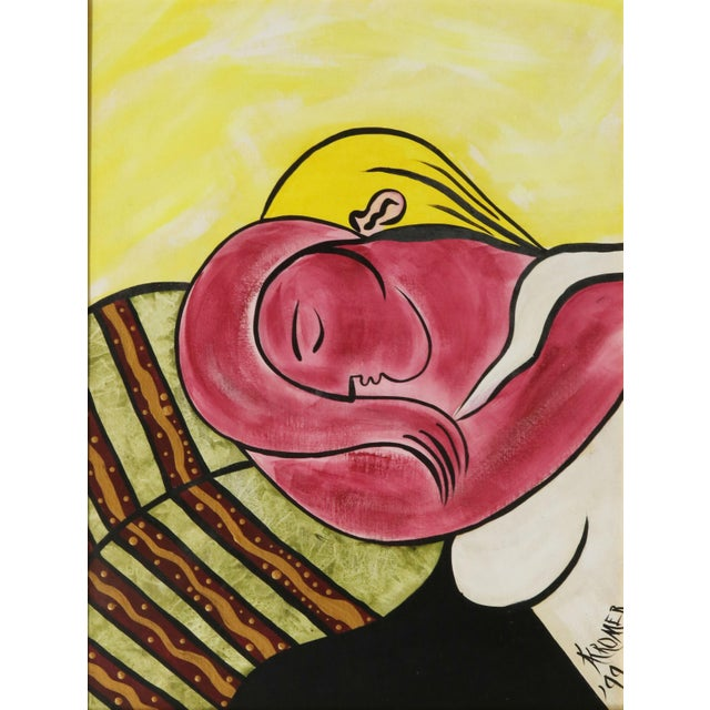 Transitional After Picasso Woman With Yellow Hair Acrylic Painting, Framed For Sale - Image 3 of 13