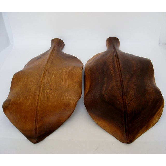 Wood Leaf Accents - a Pair For Sale - Image 5 of 5