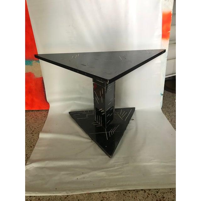 Black 1980s Postmodern Black Marble Side Table For Sale - Image 8 of 8