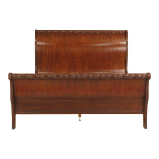Stickley King Size Carved Mahogany Sleigh Bed