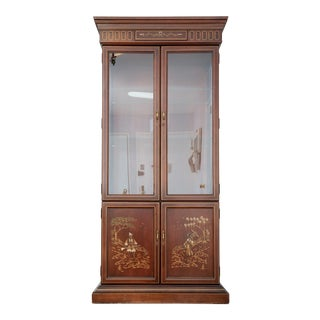 1980s Chinoiserie Jasper Cabinet Hand Paint Decorated 4 Door Lighted Curio Cabinet For Sale