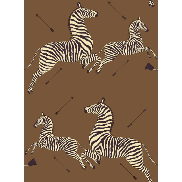 Transitional Red by Scalamandre Peel & Stick Wallpaper, Zebras, Safari Brown For Sale - Image 3 of 3