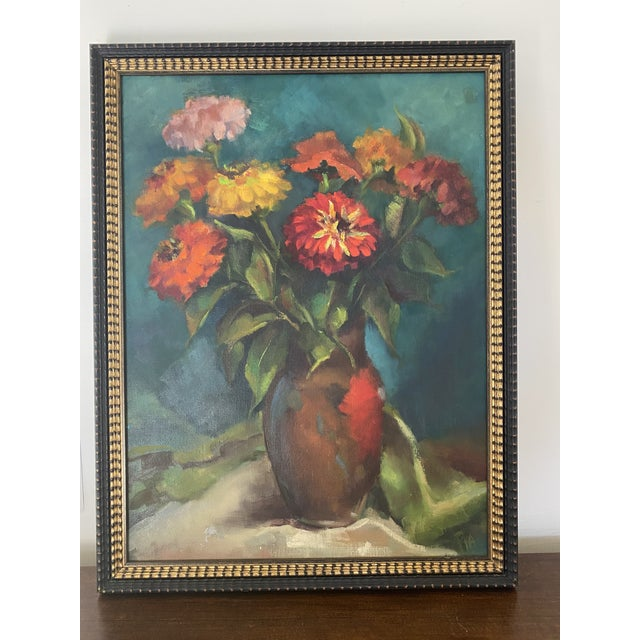 Striking, quite competently painted, vase of zinnias created with a bold painterly hand signed by artist Pia. Painting is...