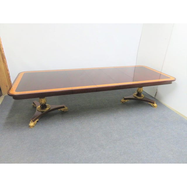 Regency Baker Furniture Company Banded Mahogany Dining Table For Sale - Image 12 of 12
