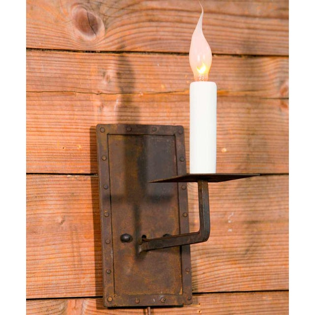"""Customizable Pair of """"Bexar"""" Hand-Made Iron Sconces - Image 2 of 3"""