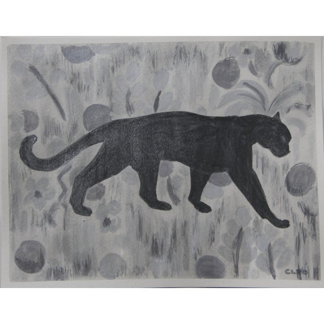 .Abstract painting of leopard or cheetah in shades of gray on a textured gray background, painting over with a silver...