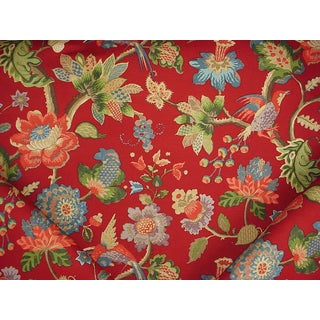Traditional Lee Jofa Cameron Ruby Floral Print Upholstery Fabric - 4y For Sale