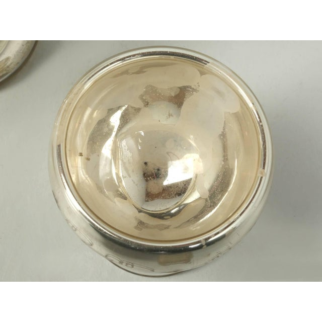 Vintage Mercury Glass Compote with Etched Grapes For Sale In Chicago - Image 6 of 10