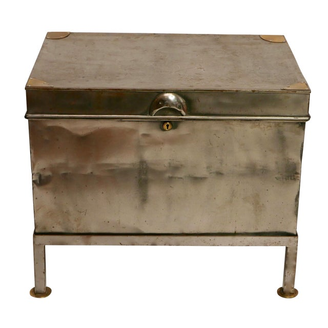 19th Century Polished Steel Trunk on Stand For Sale