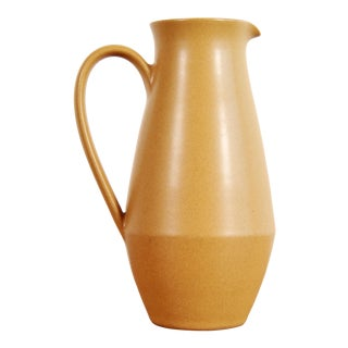 Mid Century Modern Mustard Yellow Pottery Pitcher For Sale