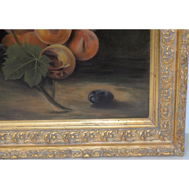 """19th Century """"Fruit Table"""" Still Life Oil Painting For Sale In San Francisco - Image 6 of 9"""