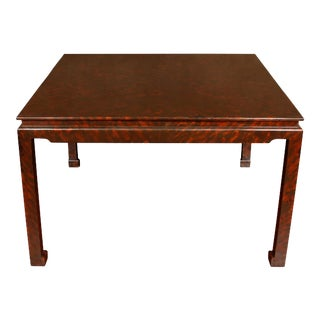 Custom Faux Tortoise Square Center Table For Sale