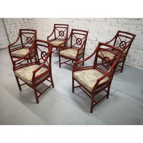 Set of 6 Italian Mid Century Red Bamboo Chippendale Lounge Dining Chairs For Sale In New York - Image 6 of 13
