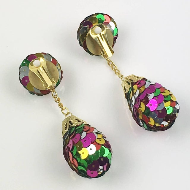 Colorful Sequin Disco Balls Dangling Chandelier Clip on Earrings For Sale - Image 4 of 6