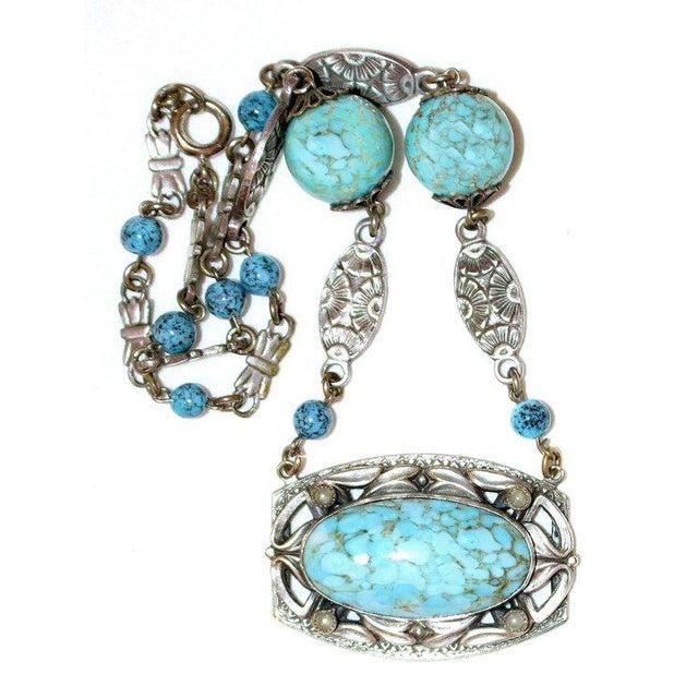 Art Nouveau 1920s Silver-Plated Turquoise Glass Necklace, Art Nouveau Design For Sale - Image 3 of 5