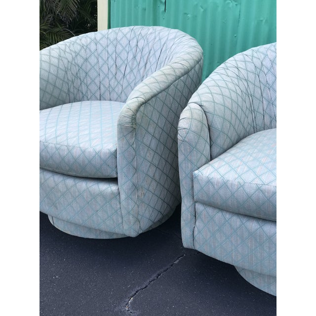 Fabric 1980s Mid-Century Modern Barrel Swivel Chairs - a Pair For Sale - Image 7 of 12