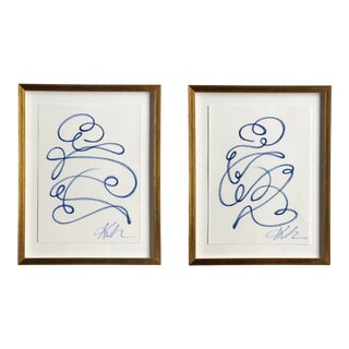 """""""Say Cheese #1 & #2"""" Contemporary Continuous Line Paintings by Kellie Lawler, Framed - a Pair For Sale"""