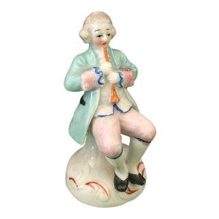 1940s Occupied Japan Colonial Pipe Player Porcelain Figurine For Sale