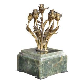Art Nouveau Gilt Bronze 7-Light Candelabra With Green Alabaster Base For Sale