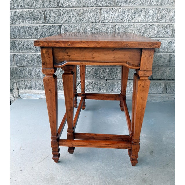 Vintage Heritage Furniture Cherry Nesting Tables With Curly Burl Wood Banding, 2 Pieces For Sale - Image 9 of 13