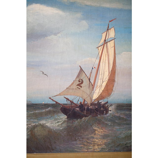 """""""Regatta on a Choppy Sea"""" Oil Painting on Canvas by Julian O. Davidson, Dated 1877 For Sale - Image 11 of 13"""