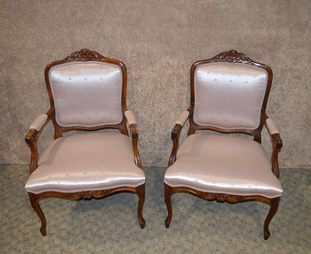 Pair Of Accent Arm Chairs French Bergere Style Wood Trim Pale Pink  Patterned Satin Type Fabric